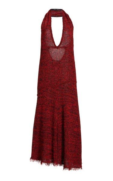 Crochet-Knit Halter Dress