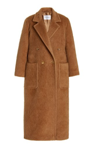 Diana Button-Detailed Camel Hair Trench Coat