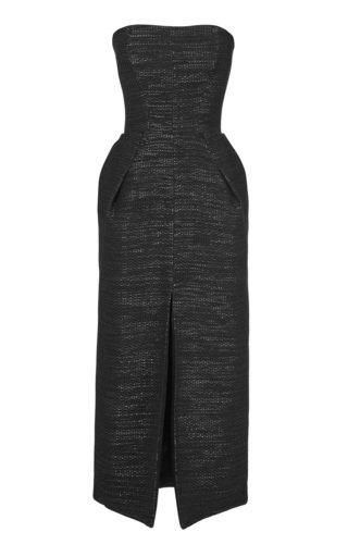 Garland Jacquard Strapless Midi Dress
