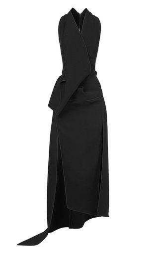 Neros Asymmetric Draped Crepe Gown