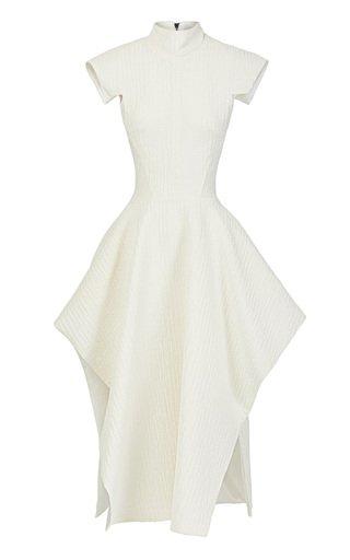 Collide Open-Back Jacquard Midi Dress