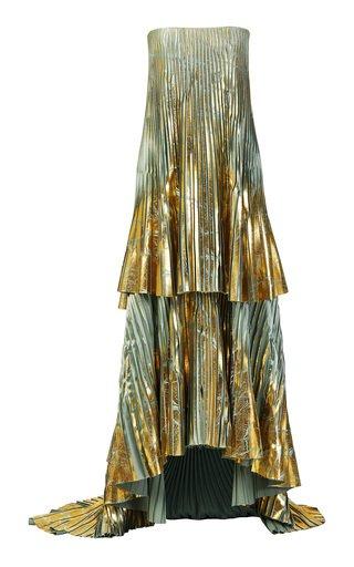 Bohemia Tiered Metallic Plissé Strapless Gown