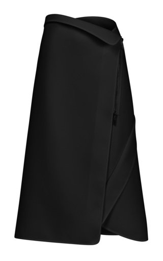 Applied Crepe Midi Wrap Skirt