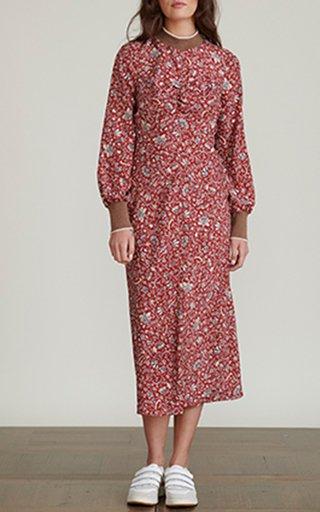 Reema Printed Silk Midi Dress