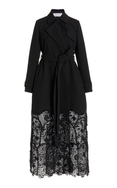 Midnight Lace-Detailed Wool-Cotton Coat