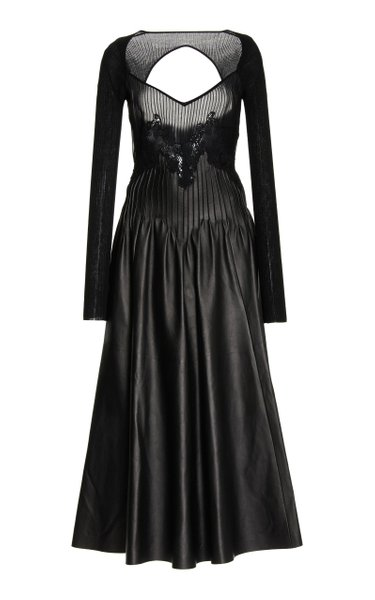 Hilde Lace-Detailed Leather-Blend Dress