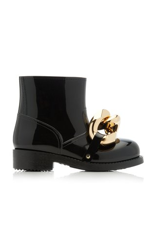 Chain-Embellished Rubber Boots