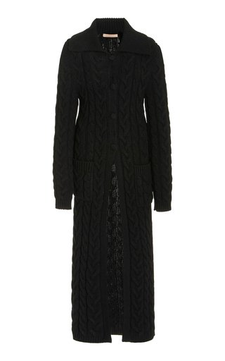 Cable-Knit Wool-Cashmere Long Cardigan