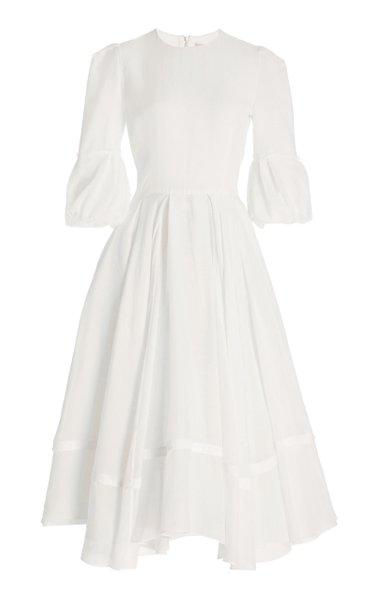 Tatum Pleated Cotton-Chiffon Midi Dress