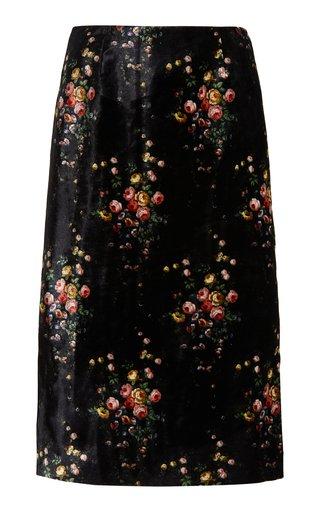 Tate Floral Velvet Midi Skirt