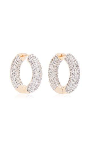 Crystal 18K Gold-Plated Hoop Earrings