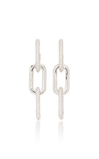 Crystal-Embellished Rhodium-Plated Earrings