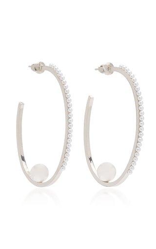 Rhodium-Plated Pearl Hoop Earrings