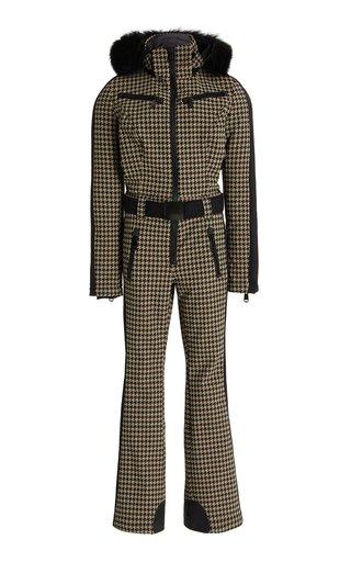 France Fur-Trimmed Houndstooth Shell Ski Suit