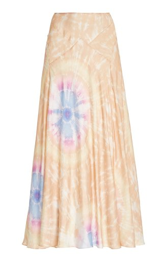 Tie-Dye Satin Maxi Skirt