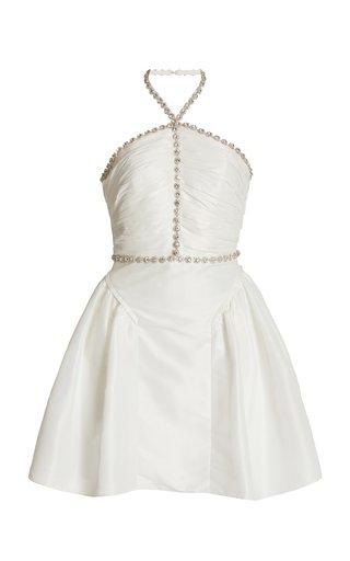Crystal-Trimmed Taffeta Mini Dress
