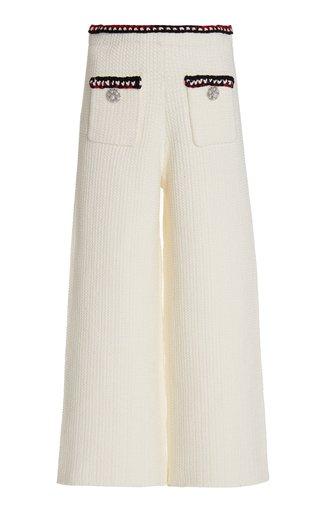 Jewel-Embellished Waffle-Knit Cropped Wide-Leg Pants