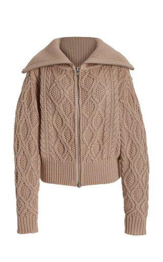 Cable-Knit Cotton-Wool Cardigan