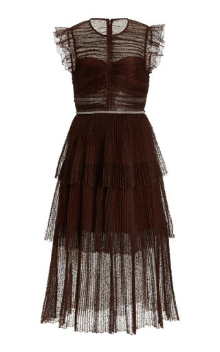 Crystal-Trimmed Pleated Lace Midi Dress