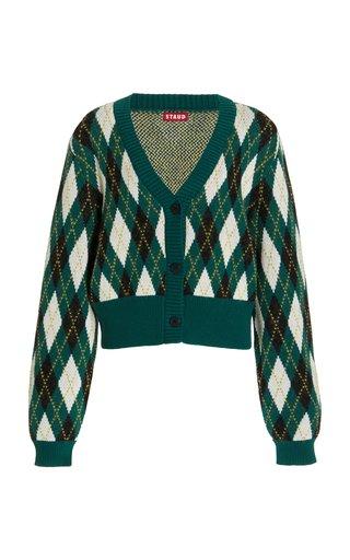 Knave Argyle-Knit Cotton-Blend Cardigan
