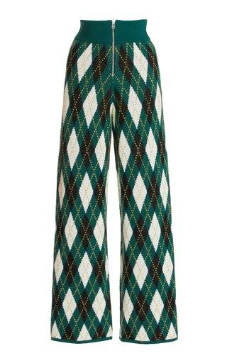Deck Argyle-Knit Cotton-Blend Pants