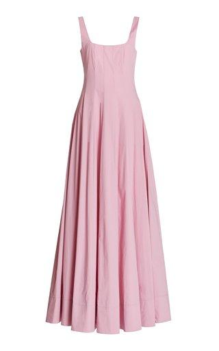 Wells Pleated Cotton-Blend Maxi Dress