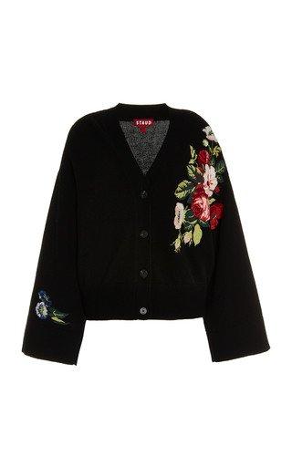 Brook Floral-Embroidered Cotton-Blend Cardigan