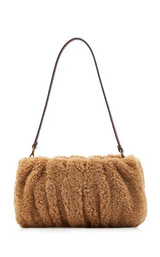Bean Ruched Shearling Shoulder Bag