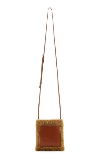 Eve Leather-Trimmed Shearling Crossbody Phone Bag