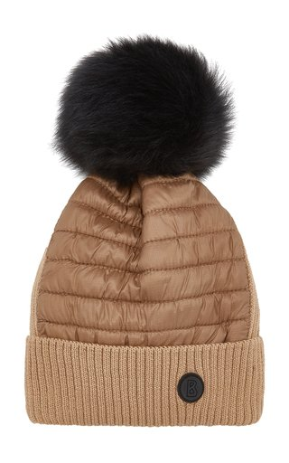 Babet Fur-Trimmed Quilted Shell and Wool-Blend Beanie