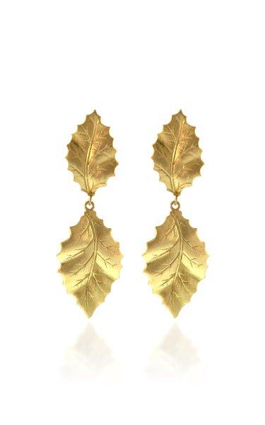 Double Holly Leaf 18K Gold Earrings