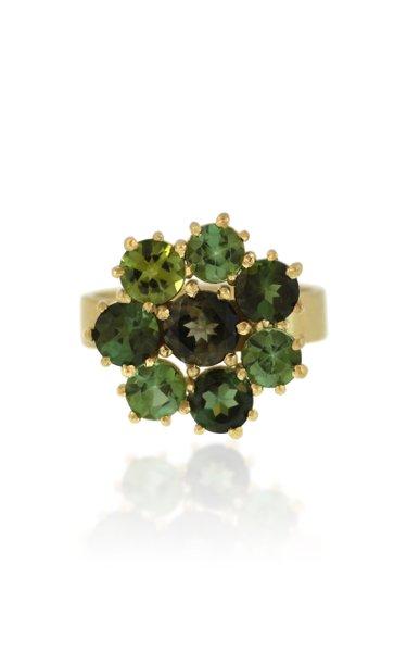 18K Gold Green Tourmaline Ring
