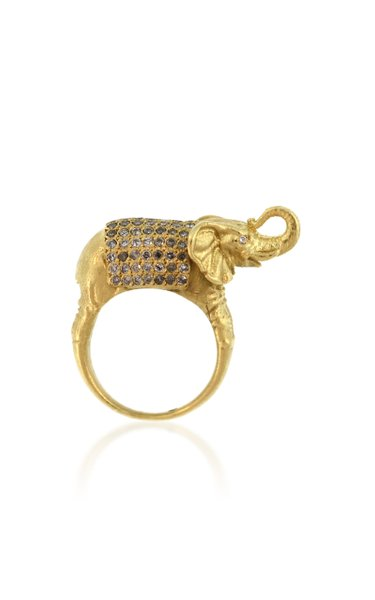 Grand Elephant 18K Gold Diamond Ring