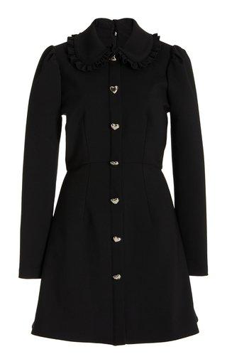 Collared Virgin Wool-Blend Mini Dress