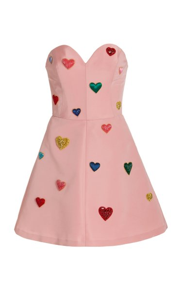 Heart-Embroidered Silk Faille Mini Dress