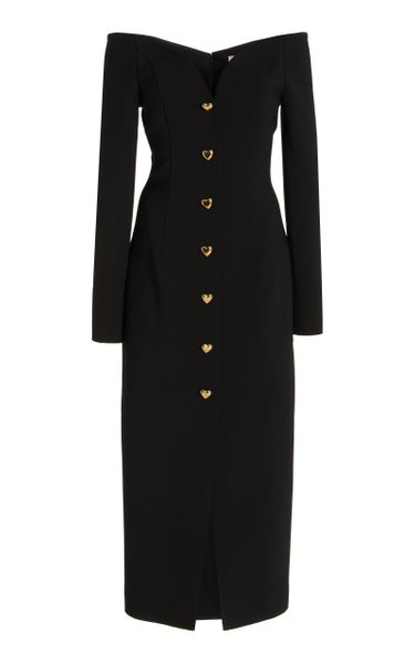 Off-The-Shoulder Wool-Blend Midi Dress