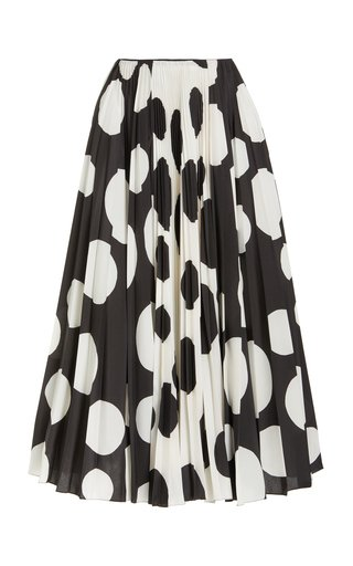 Dot-Printed Crepe-de-Chine Maxi Skirt