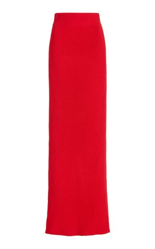 Ribbed Cashmere Maxi Skirt