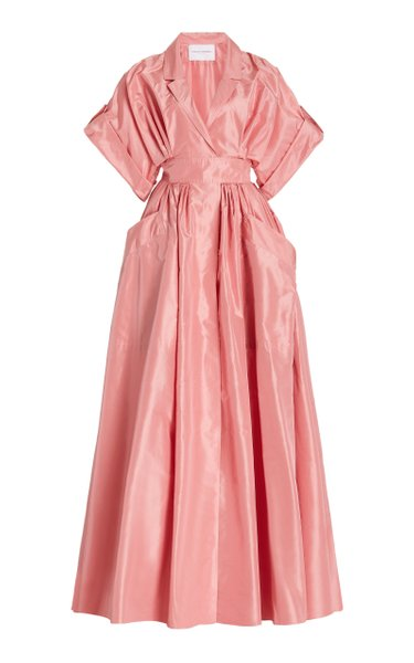 Pocketed Silk Taffeta Shirt Dress