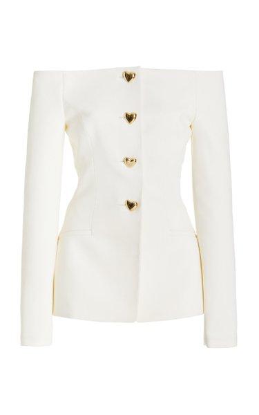 Off-The-Shoulder Wool-Blend Jacket
