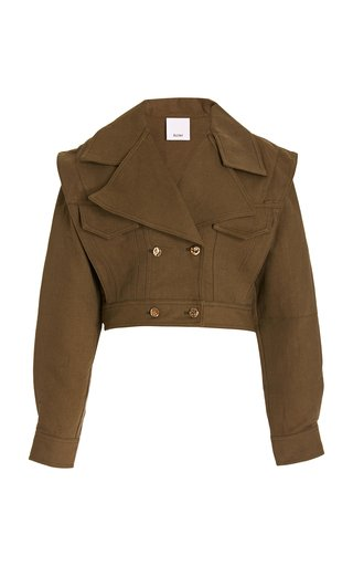 Cropped Cotton and Linen-Blend Jacket