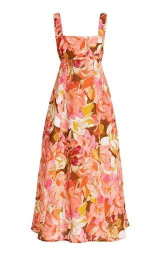 Tate Linen-Blend Midi Dress