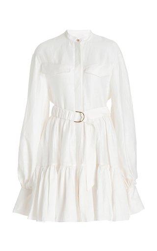 Lalor Belted Linen-Blend Mini Dress