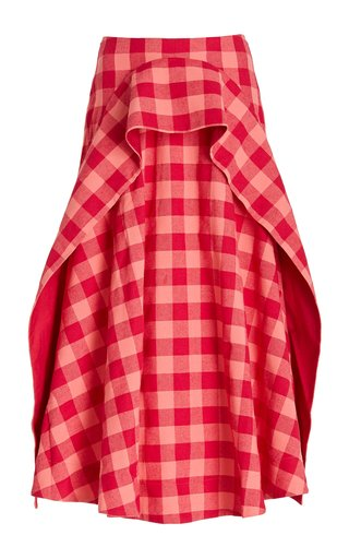 Perry Plaid Crepe Midi Skirt