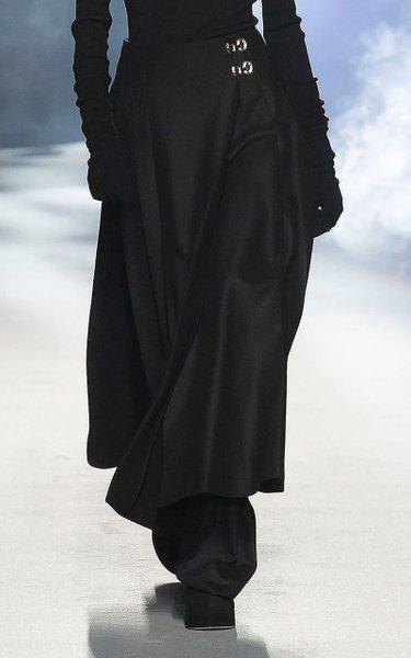 Pleated Light Felt Maxi Skirt