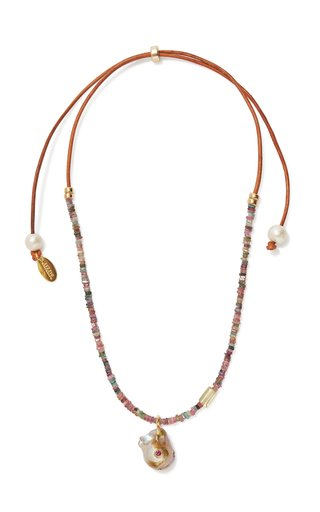 Pearl Beaded Leather Necklace