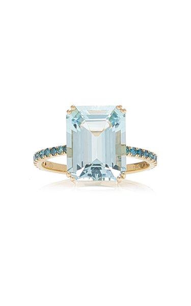 18K Gold, Aquamarine and Blue Diamond Ring