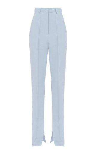 Side-Split Twill Skinny Trousers
