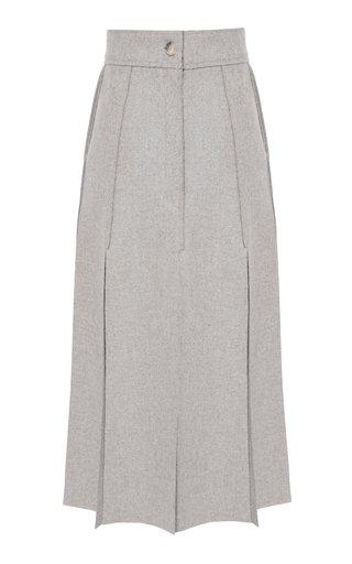 Paneled Wool Midi Skirt