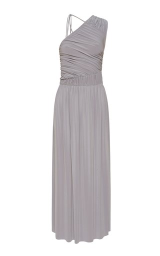 Gathered Jersey One-Shoulder Maxi Dress